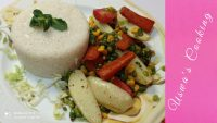 Perfect Boiled Rice    Stir Fried Vegetables    Healthy Vegetarian Recipe